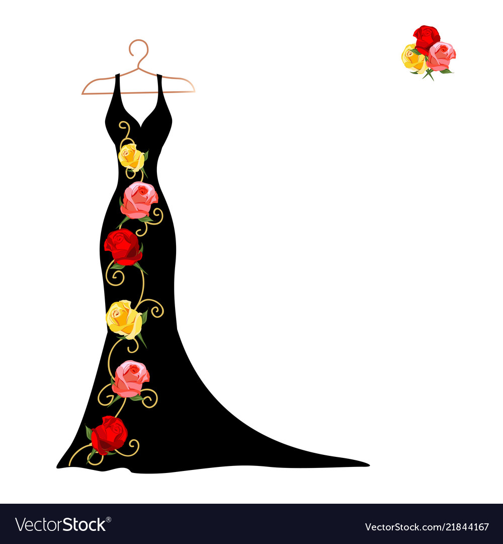 Silhouette a dress with flowers and lace