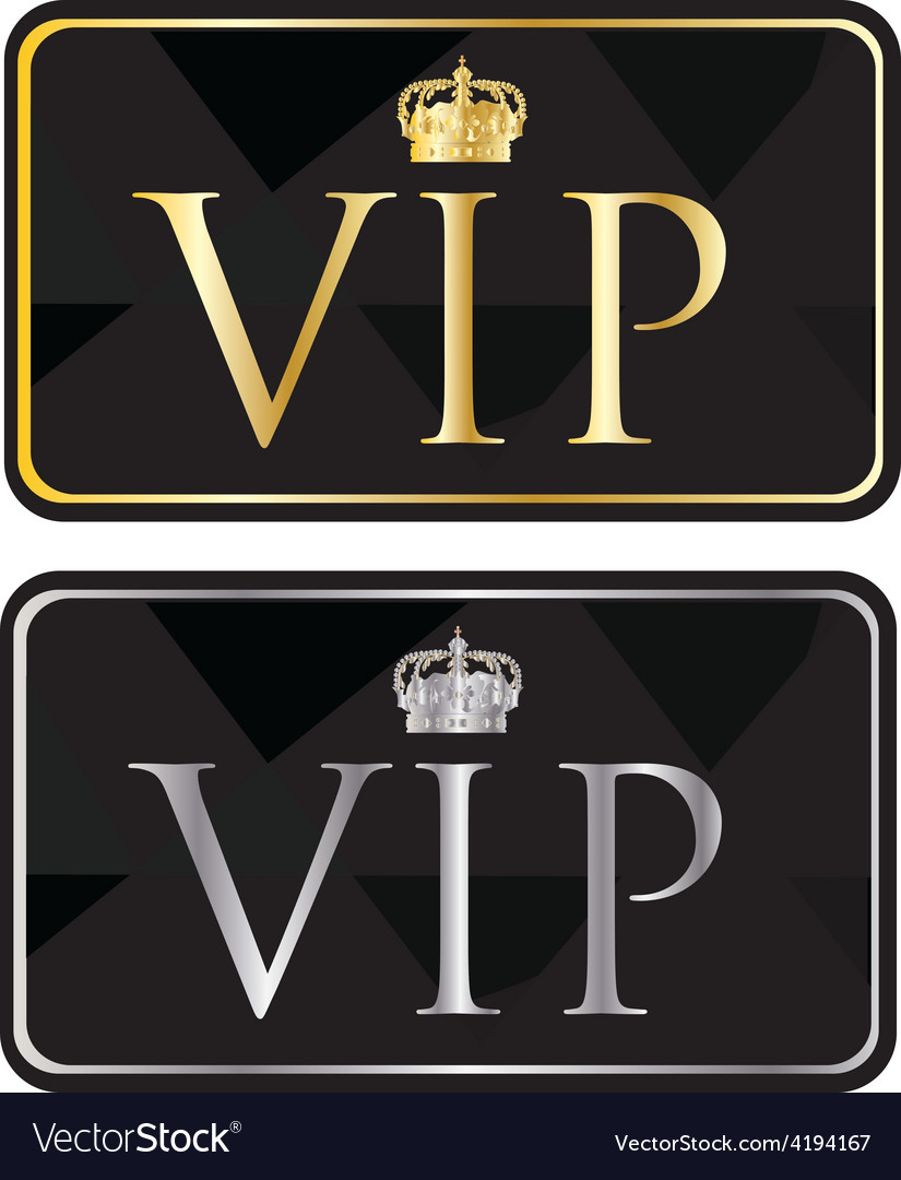 Silver and golden vip pass Royalty Free Vector Image