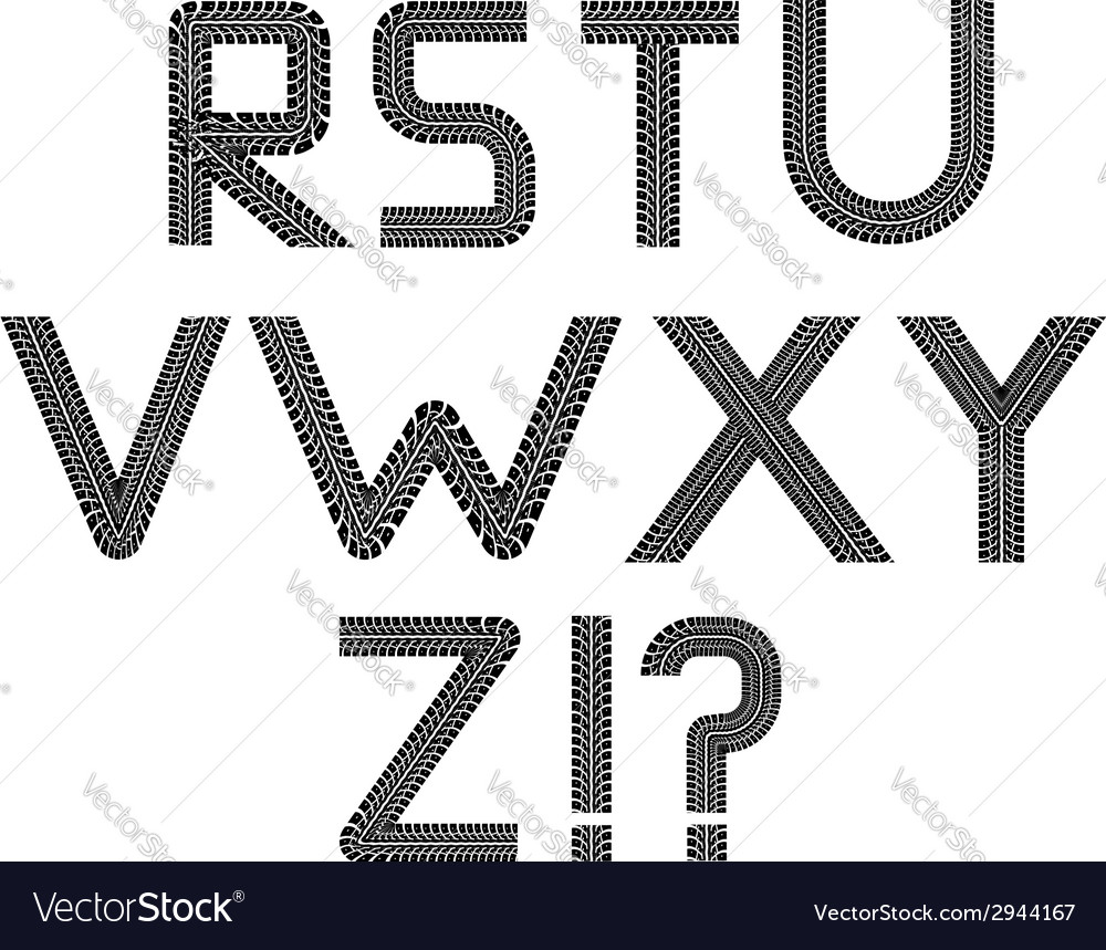 Tire tracks font vector image