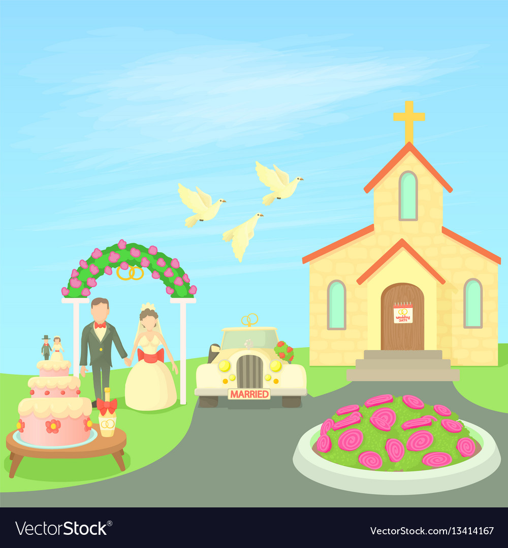 Wedding concept cartoon style