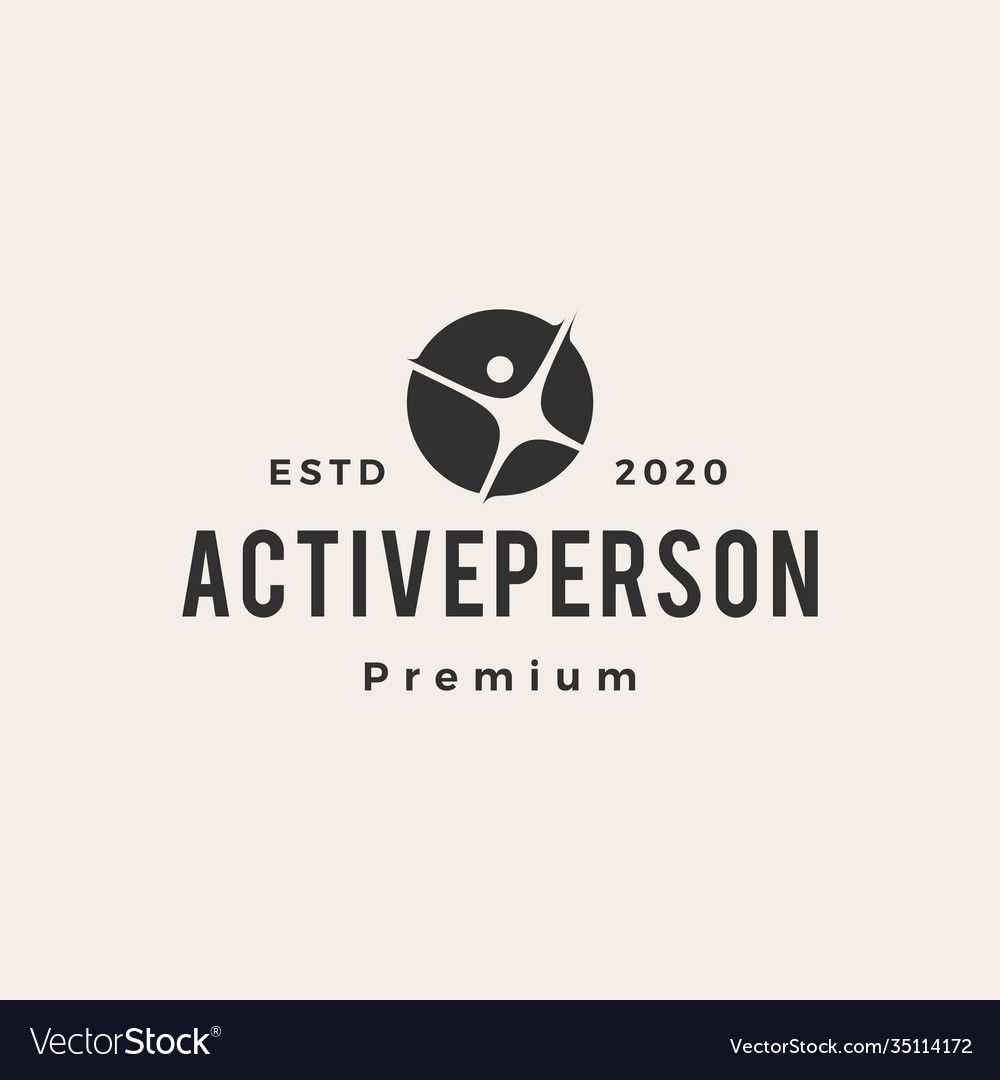Active person human hipster vintage logo icon