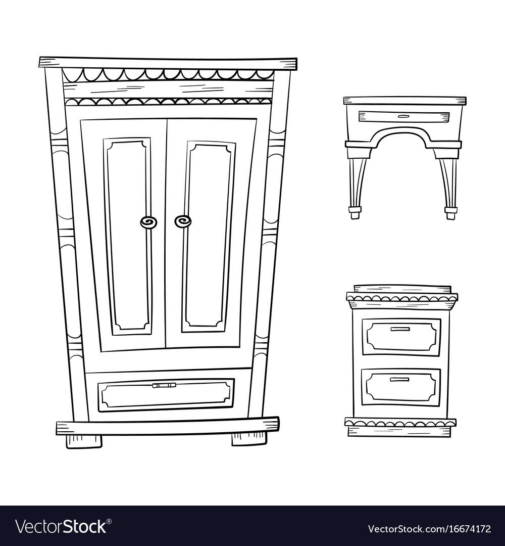 Antique Furniture Set Closet Dresser Vector Image
