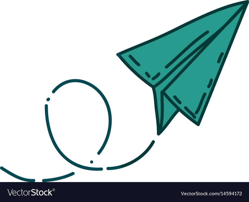 Aquamarine hand drawn silhouette of paper plane vector image