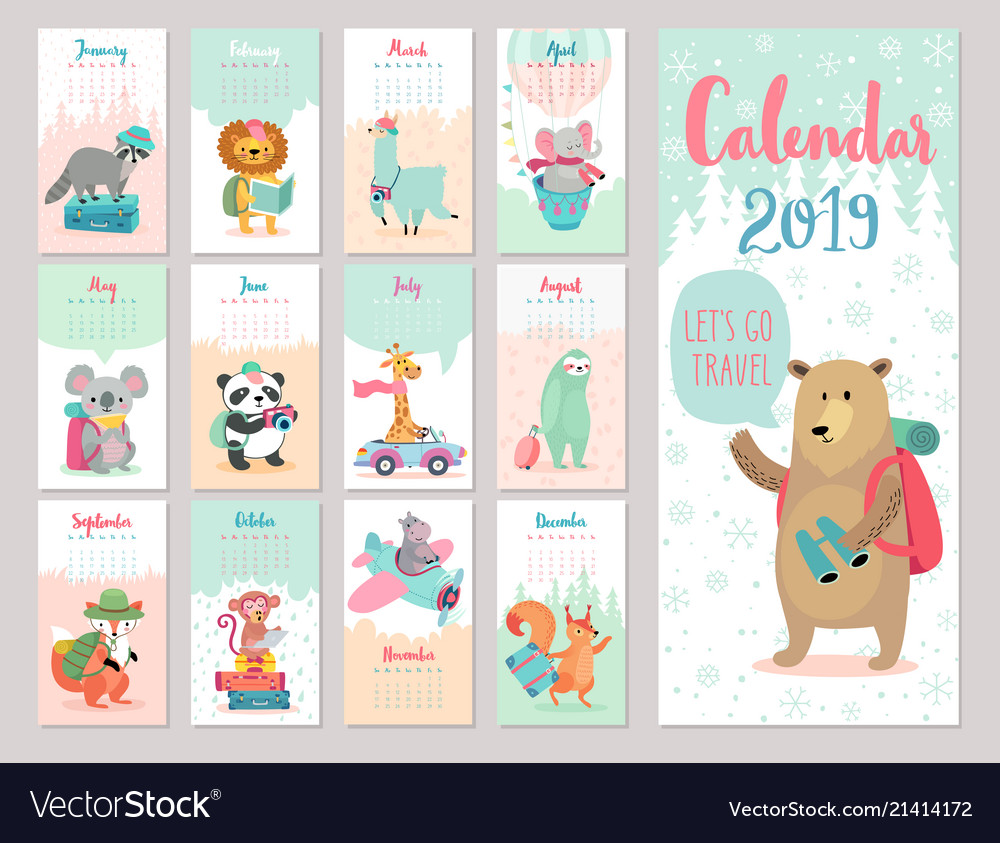 Calendar 2019 cute monthly calendar with forest