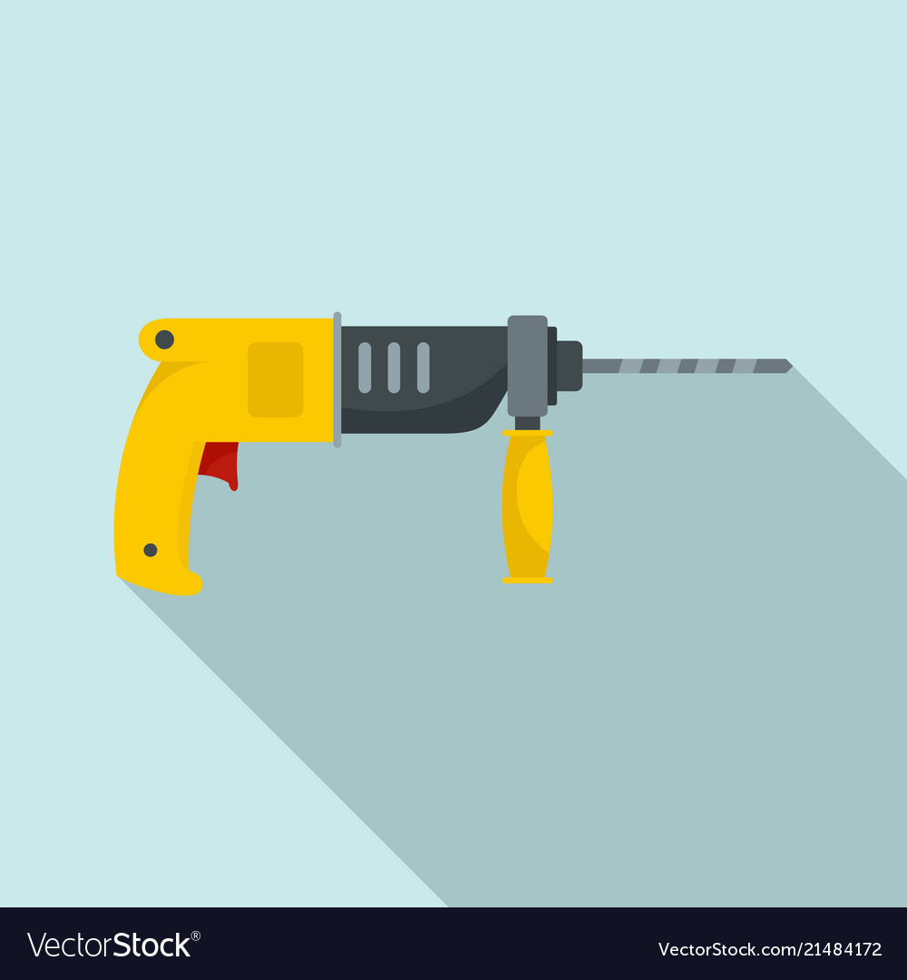 Hammer drill icon flat style