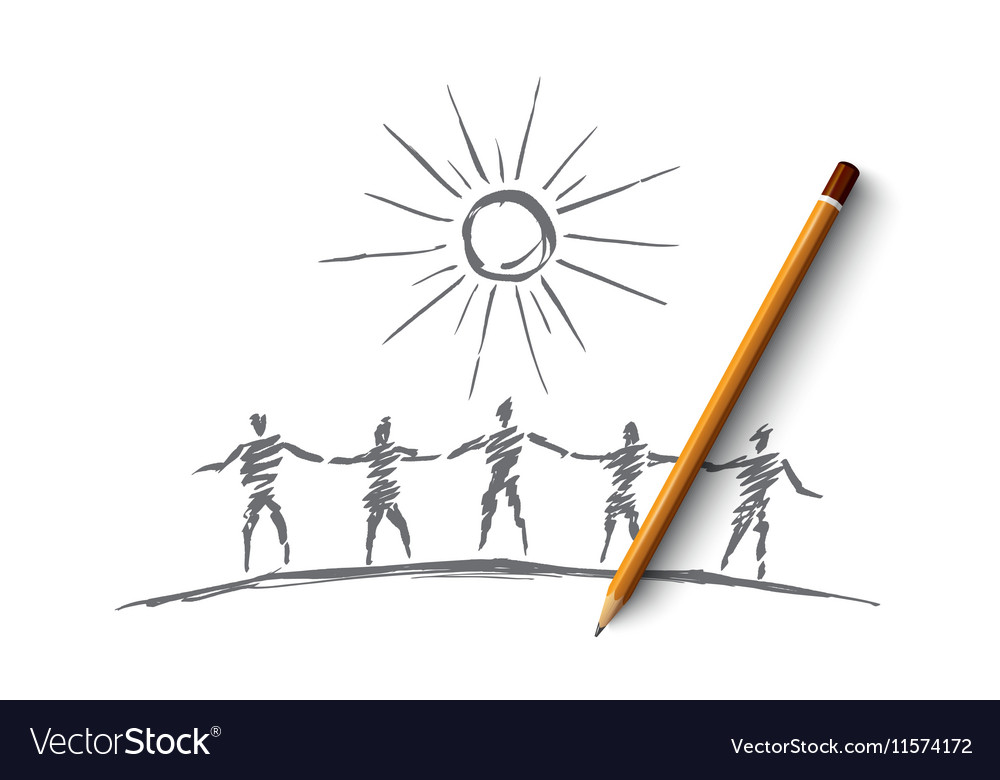 Hand drawn people team silhouettes holding hands