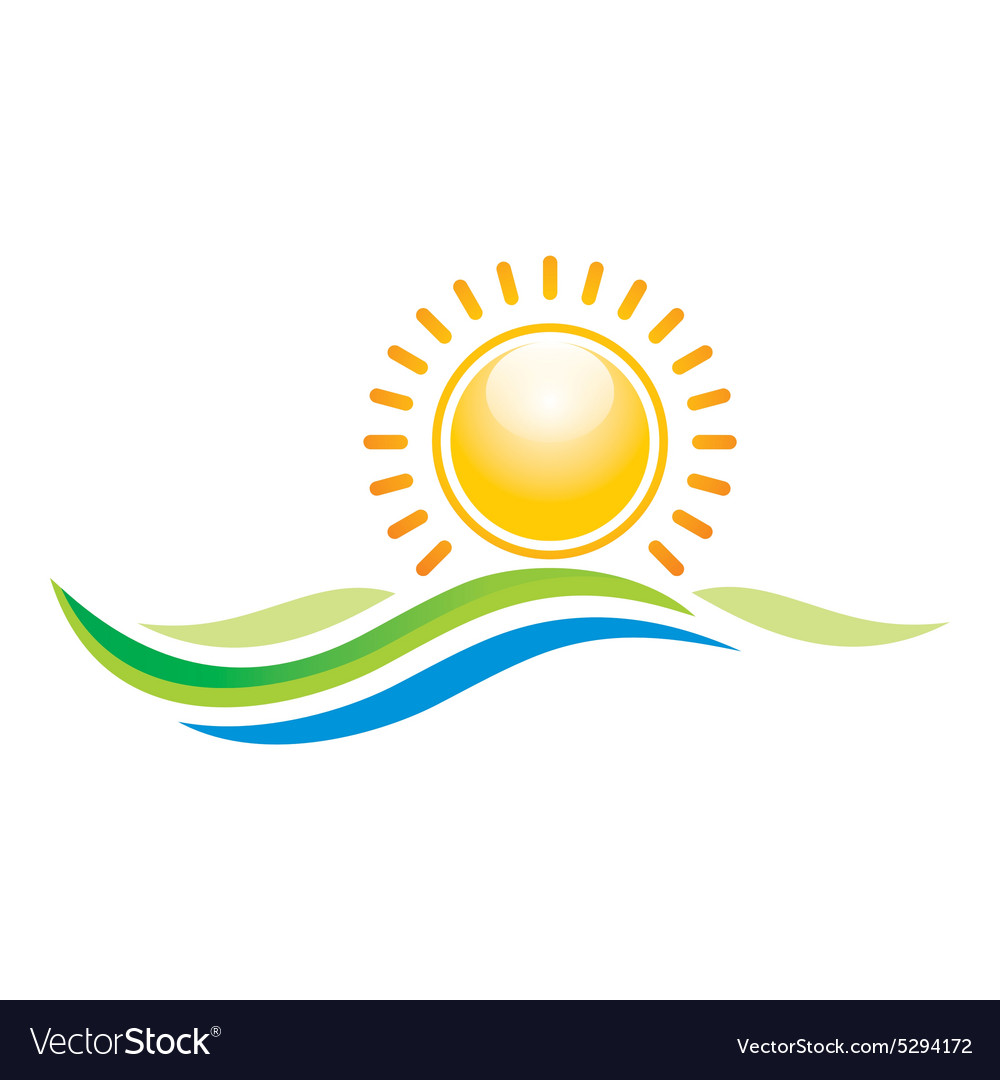 Panorama scenery sunset design icon symbol