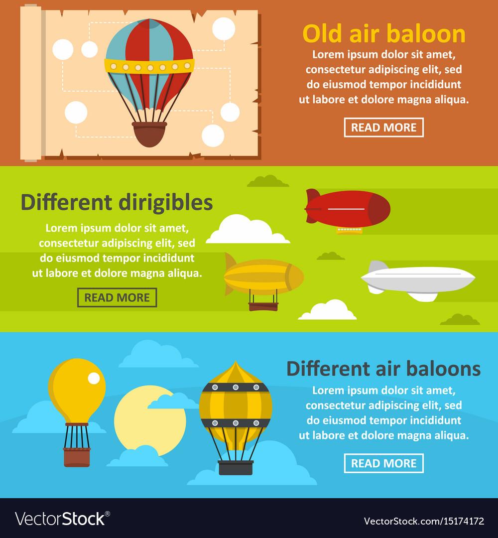 Retro balloons banner horizontal set flat style