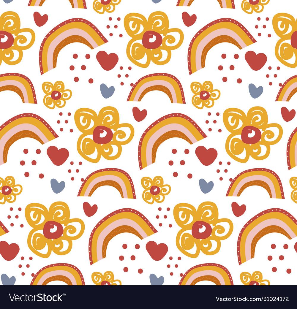 Retro floral doodle pattern flowers background