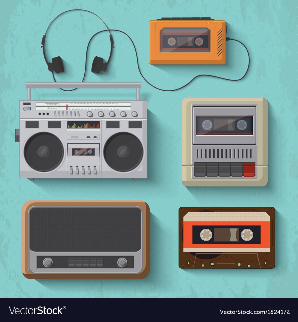 Retro music player icon set 2