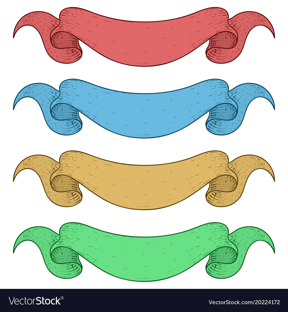 Ribbon banners colored set vector image