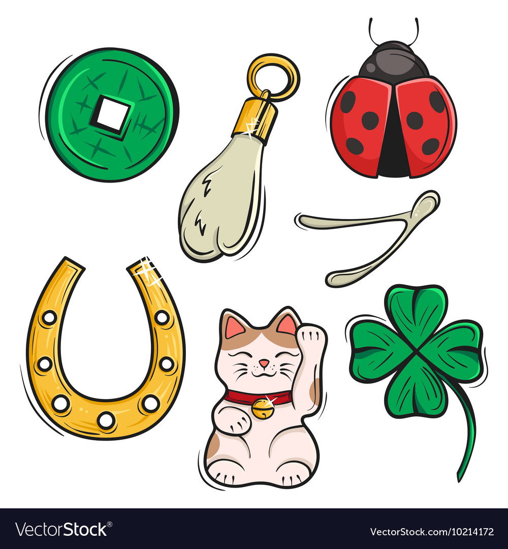 Set Of Lucky Charms Symbols And Talismans Symbols Vector Image