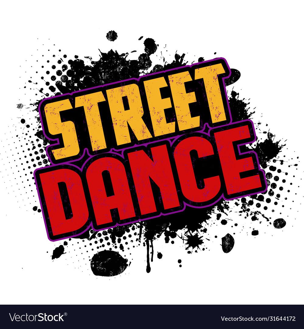 Street dance on black ink splatter background