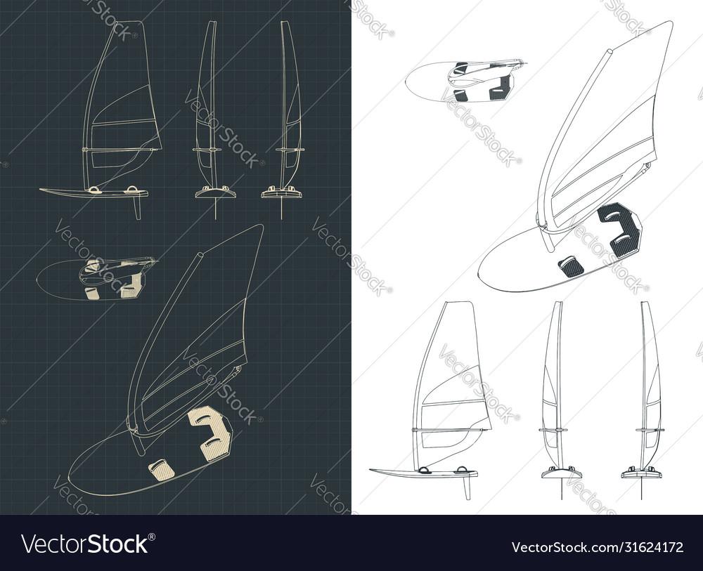 Windsurf drawings set