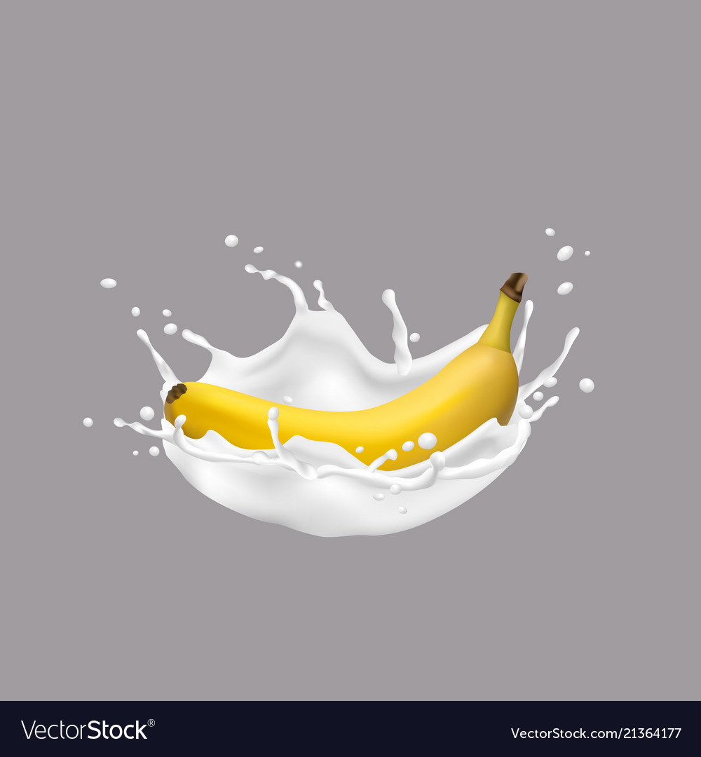 3d banana and milk splash