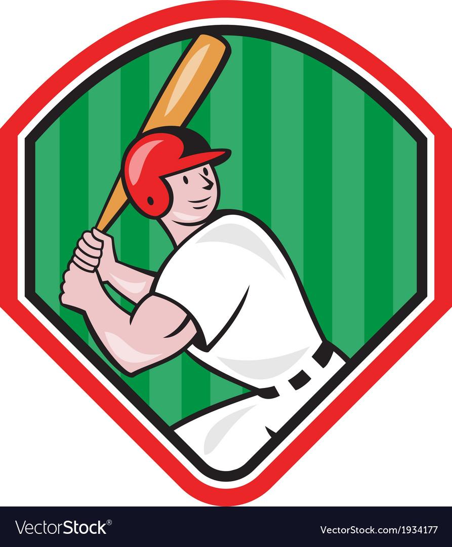 American Baseball Player Bat Diamond Cartoon