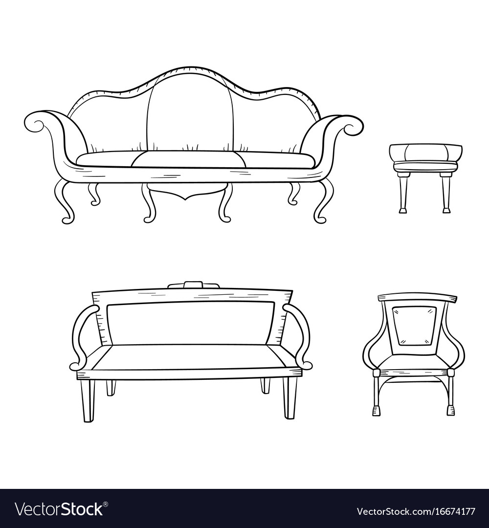 Antique Furniture Set Chair Couch Sofa Chair Vector Image