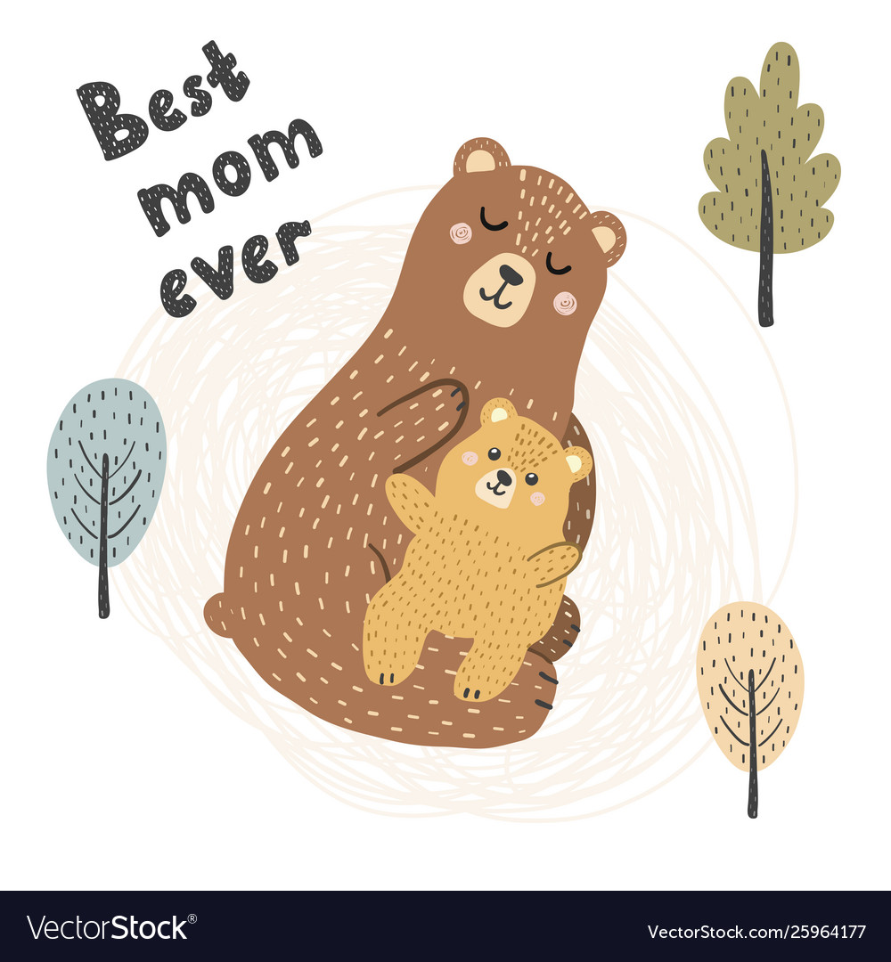 Best mom ever print with cute bears