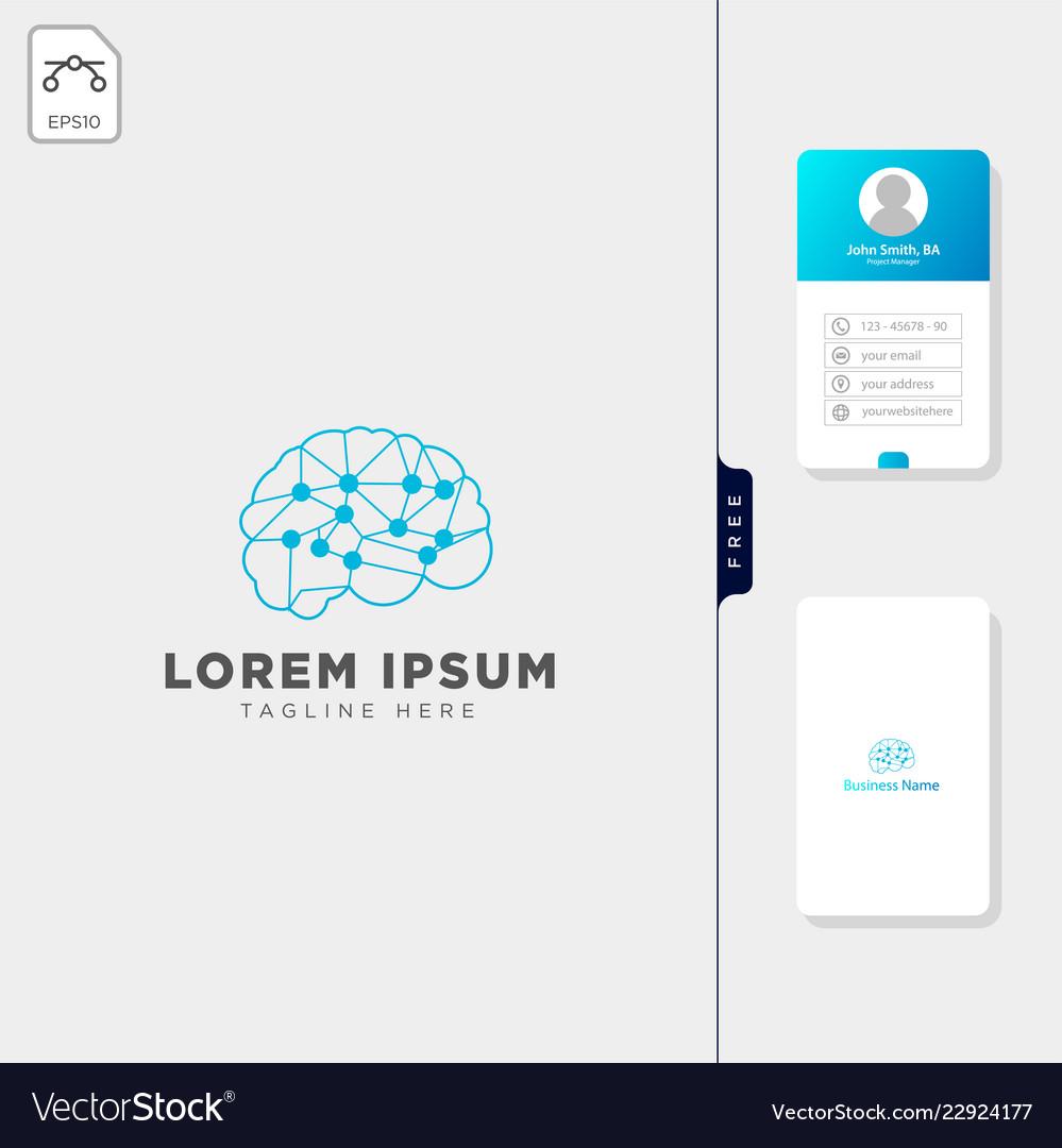 Brain molecular tech logo template and free