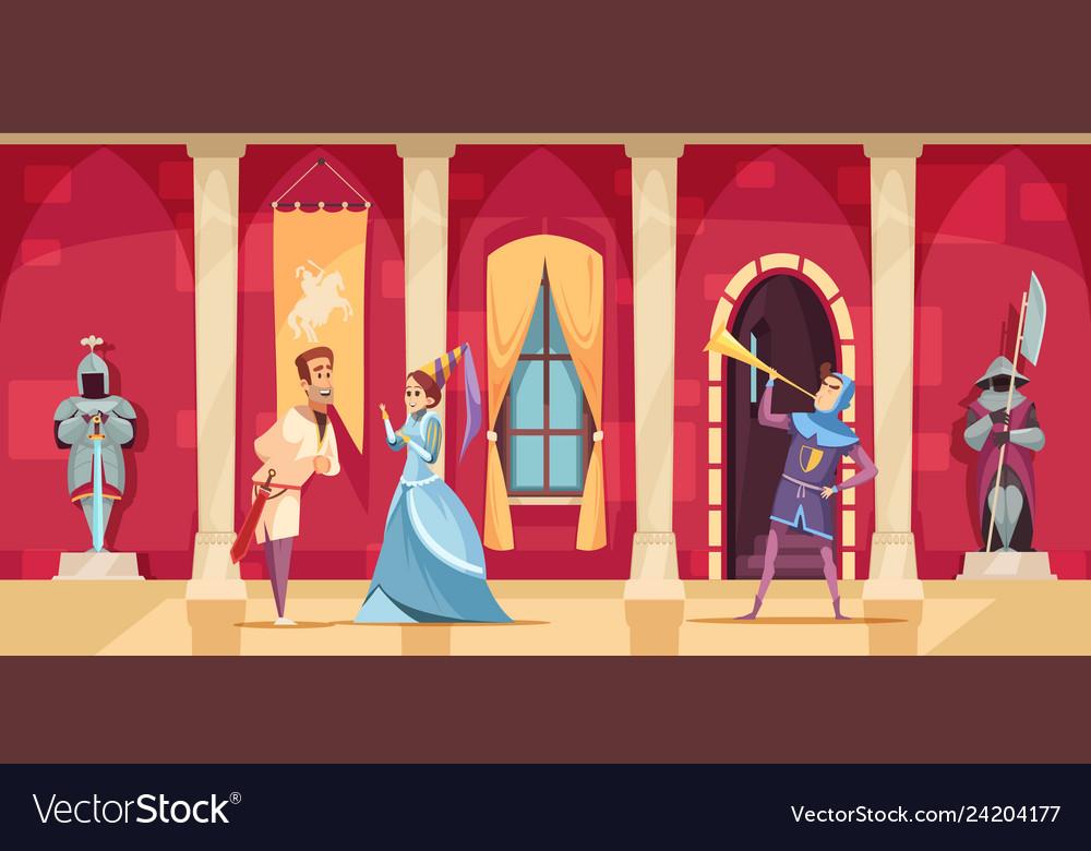 Castle interior people cartoon