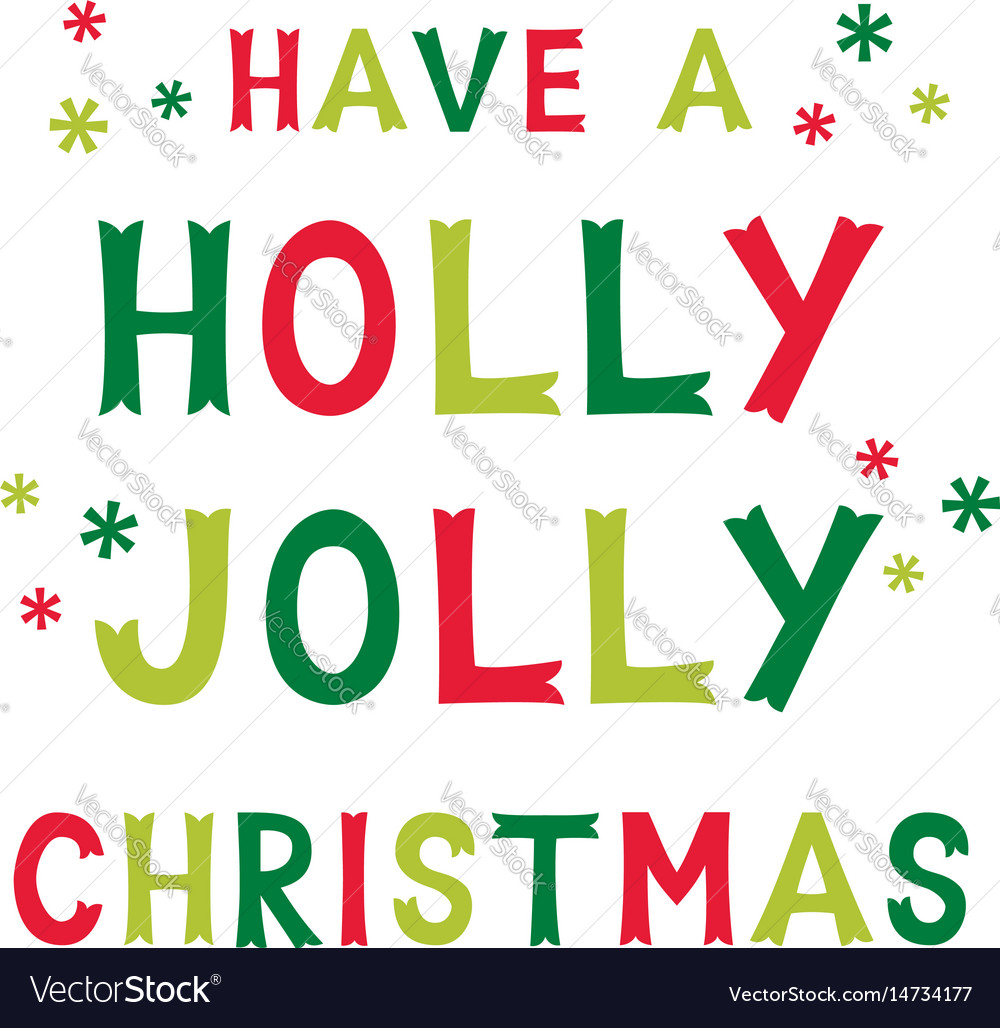 Christmas holly jolly greeting card Royalty Free Vector