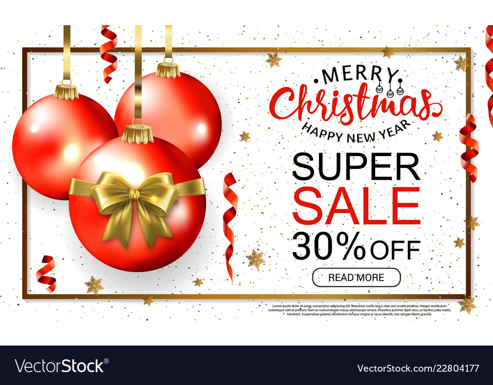 Christmas sale template card with realistic red