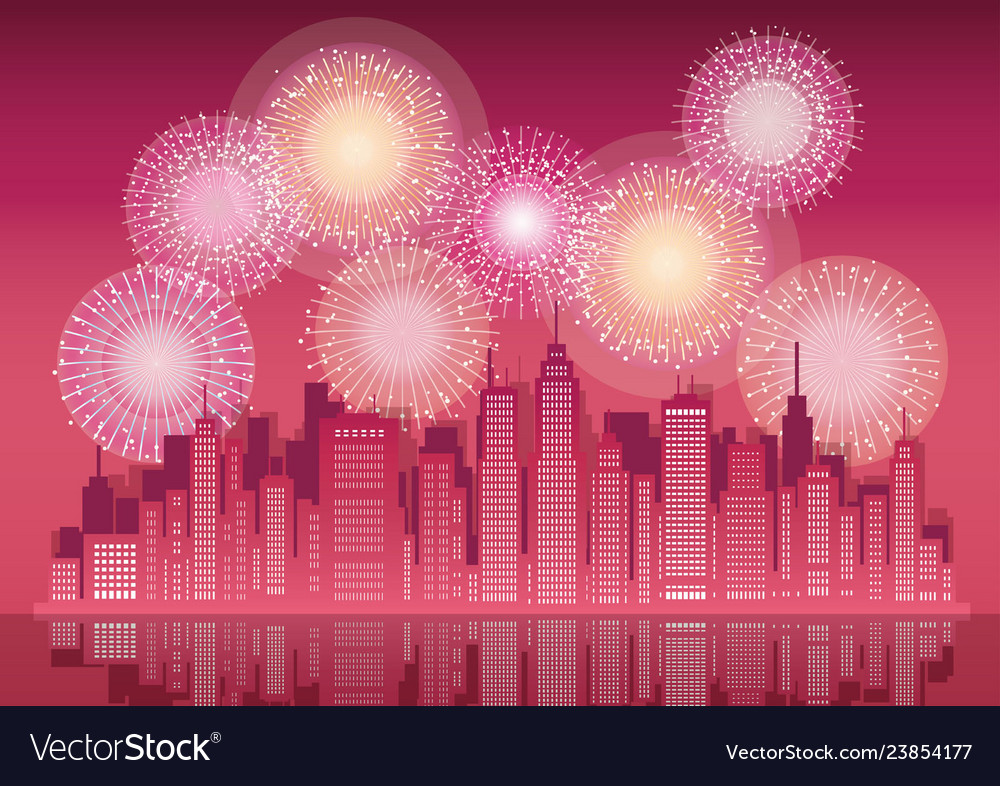 Cityscape with skyscrapers and fireworks
