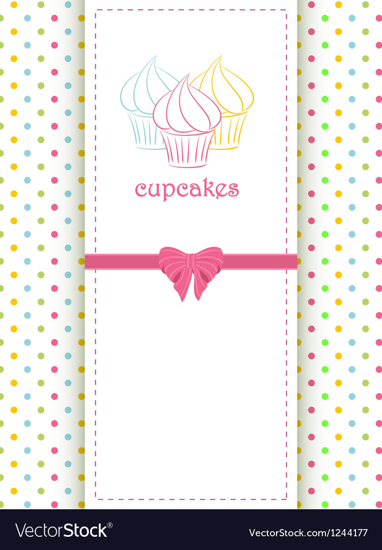 Cupcake polka dot background and panel vector image