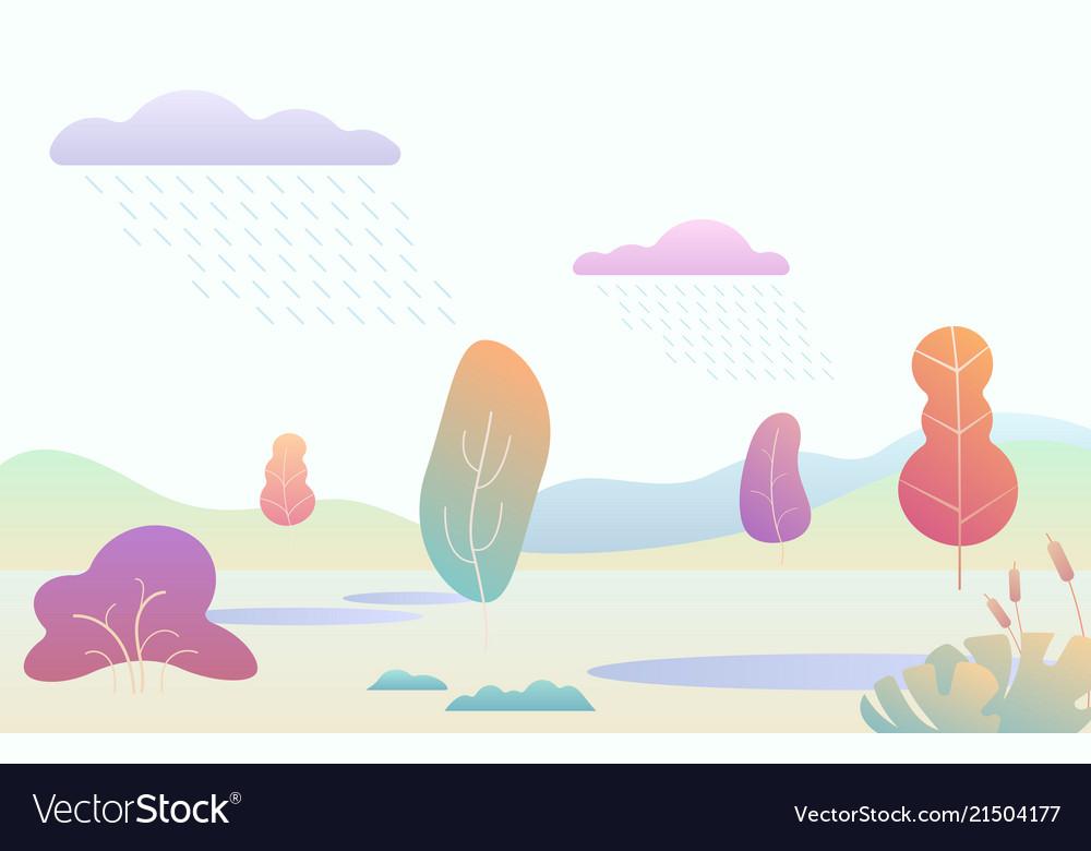 Fantasy minimalistic autumn landscape with cartoon