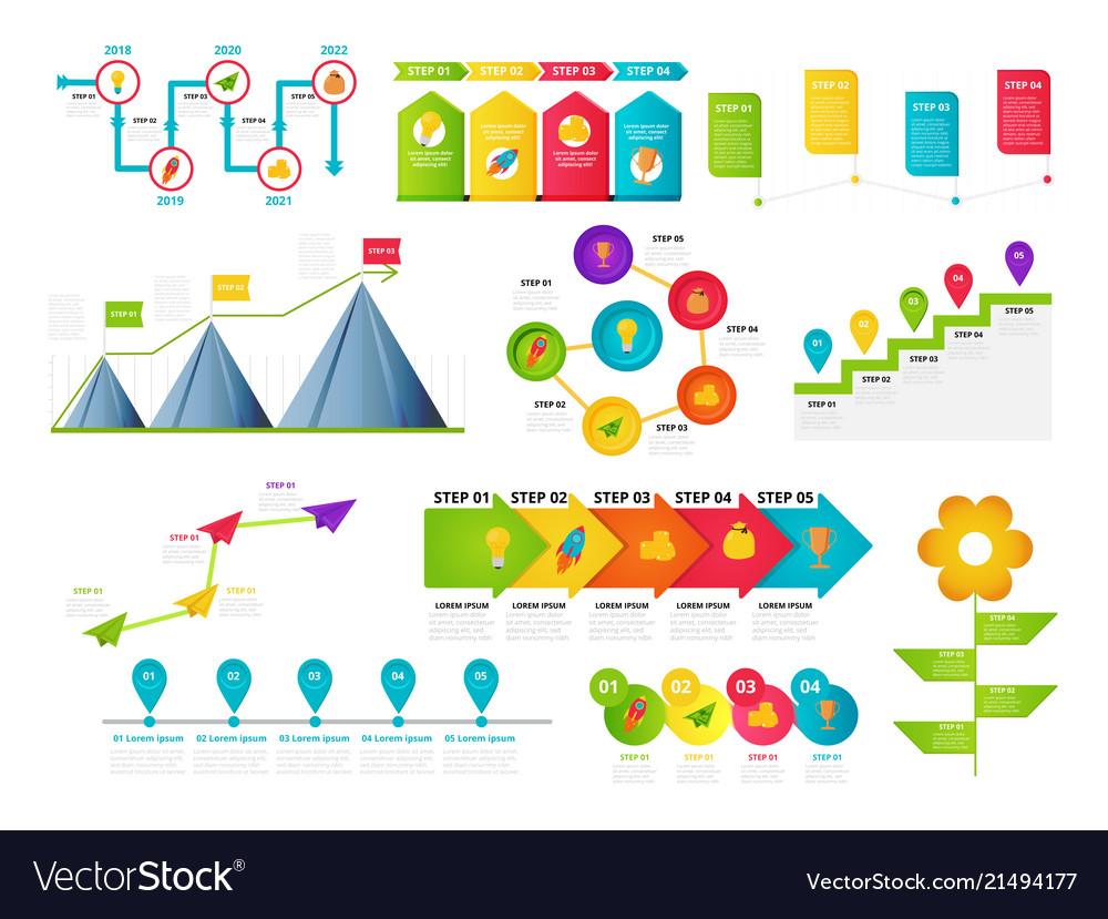 milestone timeline templates set royalty free vector image