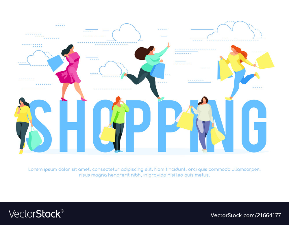 Shopping banner template with buyers