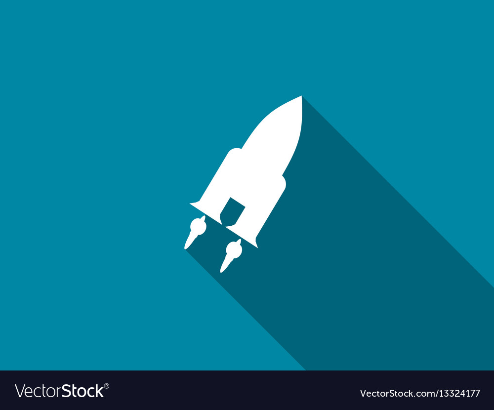 Space shuttle flat icon with long shadow