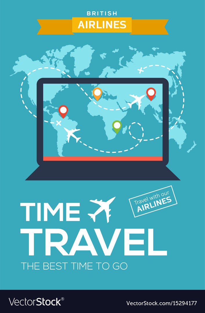 Travel poster banner of airline screen of laptop