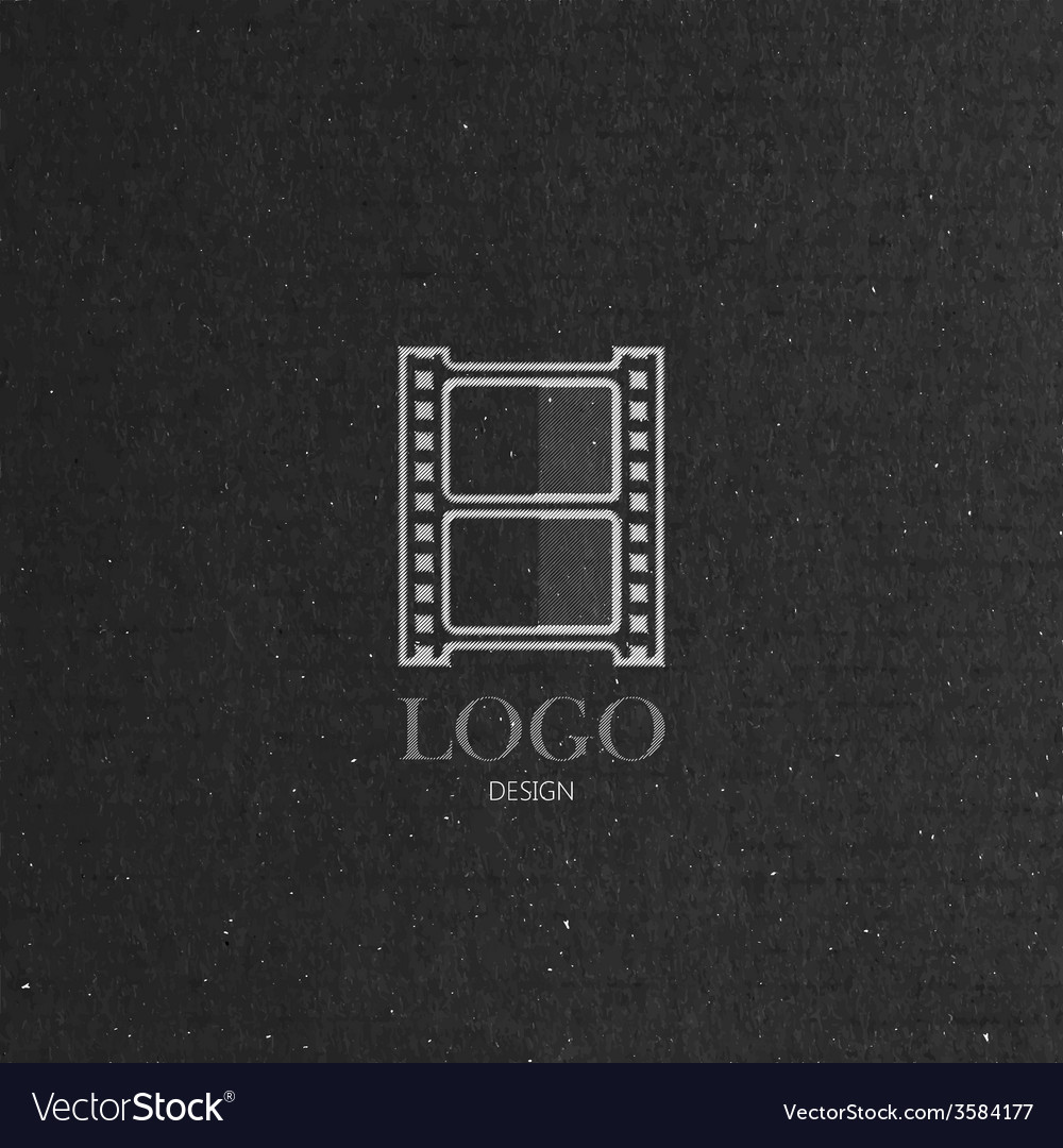 With engraving film strip icon in flat style on vector image