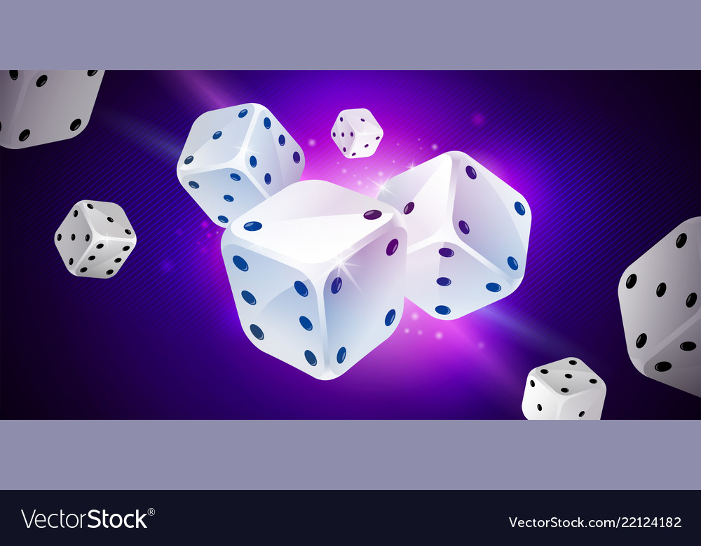 Blue background with white game dices table craps