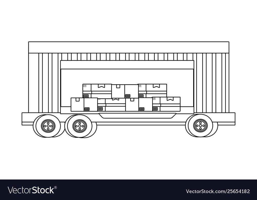 Cargo truck vehicle container cartoon