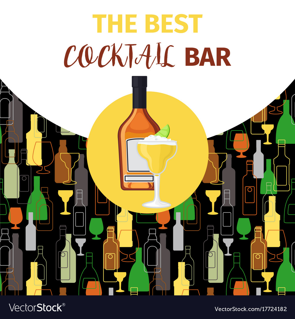Cognac and cocktail icon bar banner
