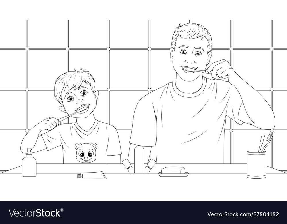 Dad and son brush their teeth coloring book