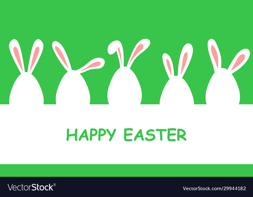 Easter banner with eggs decorated with rabbit ears