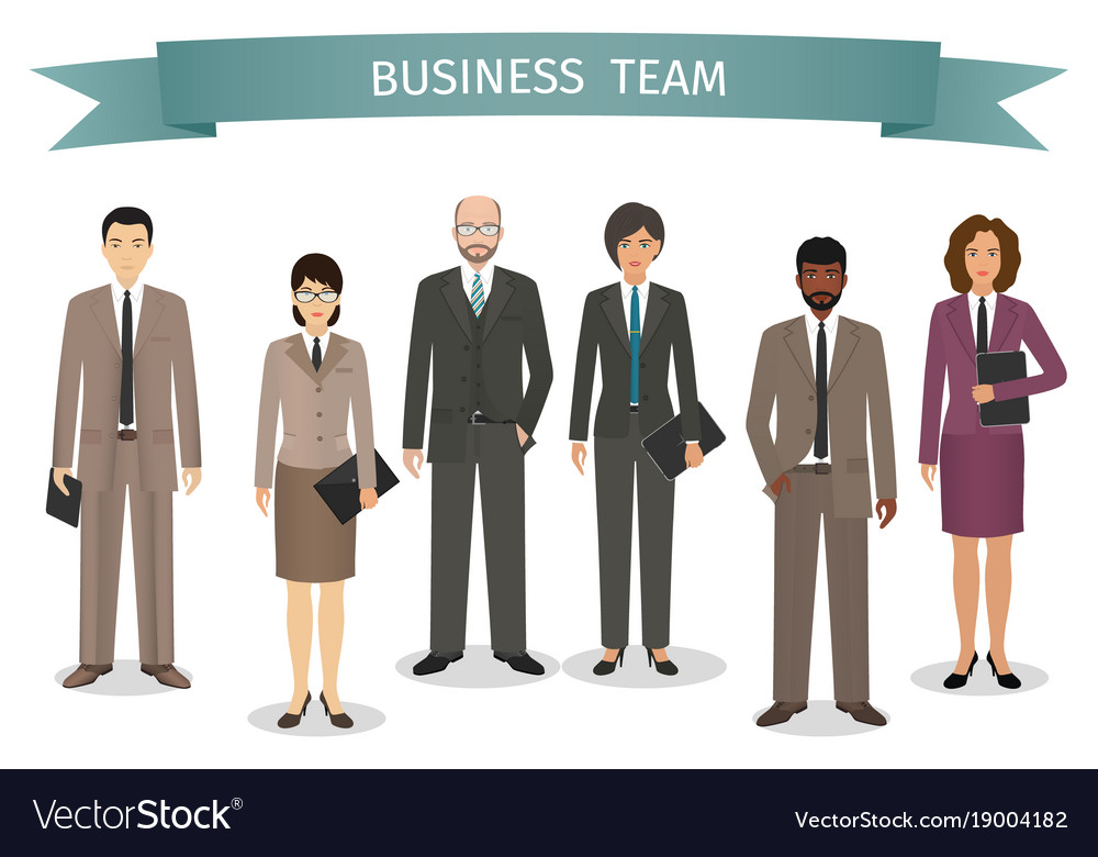 Group of business men and women standing together