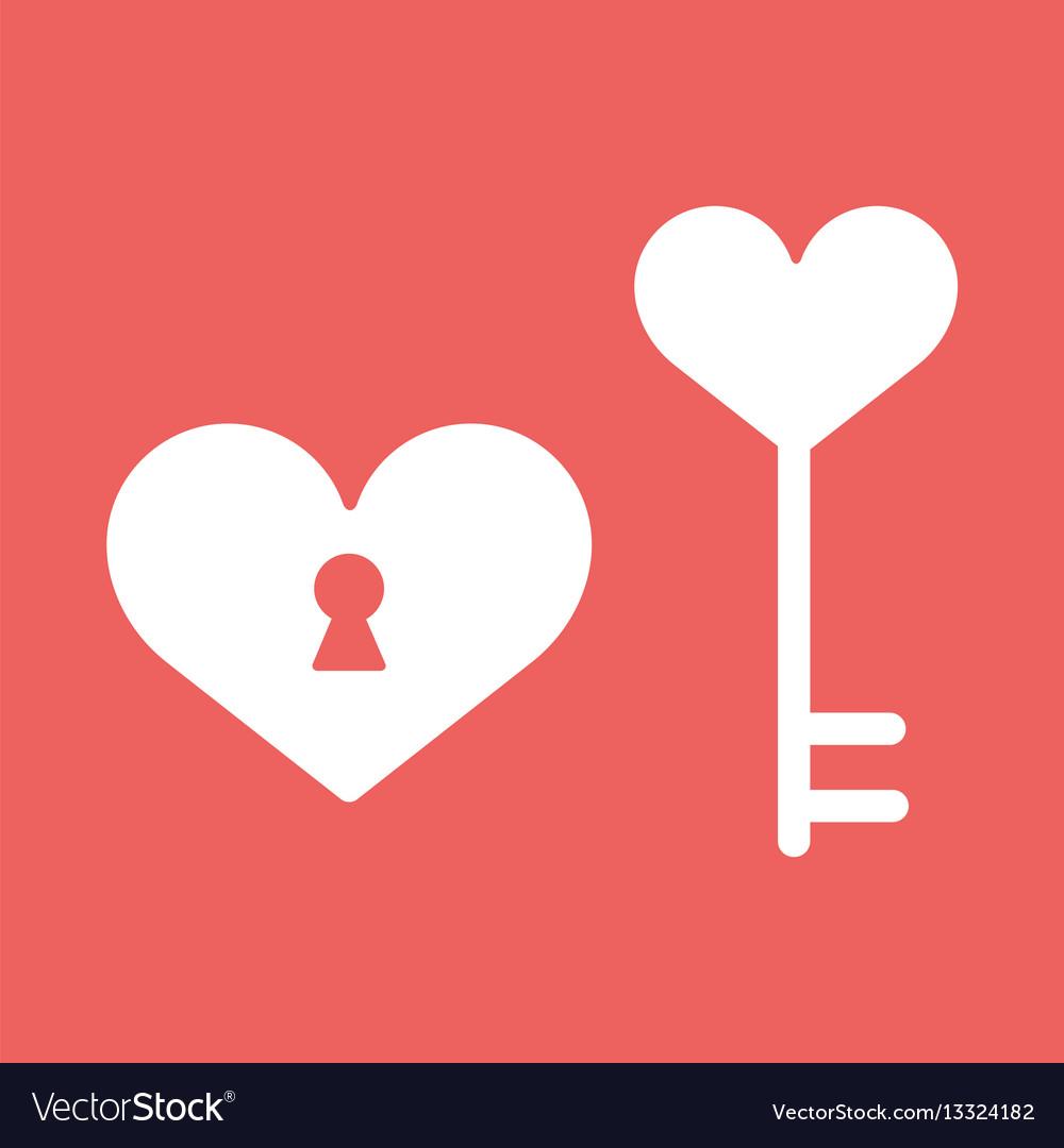 Heart lockicon in flat minimalistic style