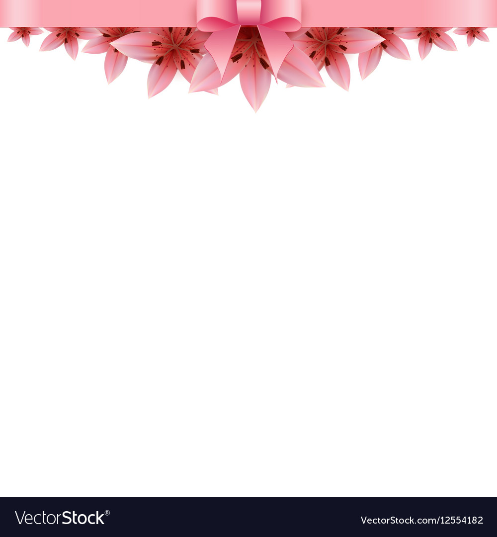 Lily Flower Banner On A White Background Vector Image