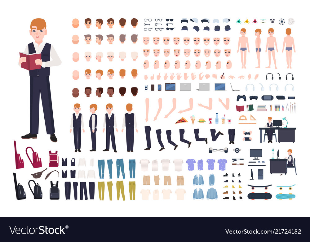 Redhead pupil animation or diy kit collection of
