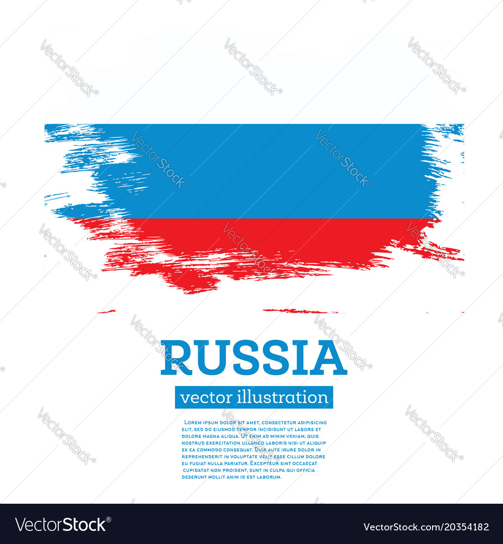 Russia flag with brush strokes