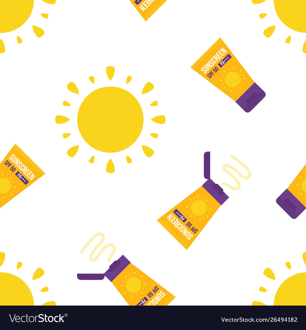 Seamless pattern with sun and sunscreen tubes