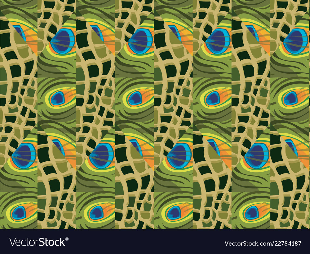 Abstract seamless background of peacock feathers