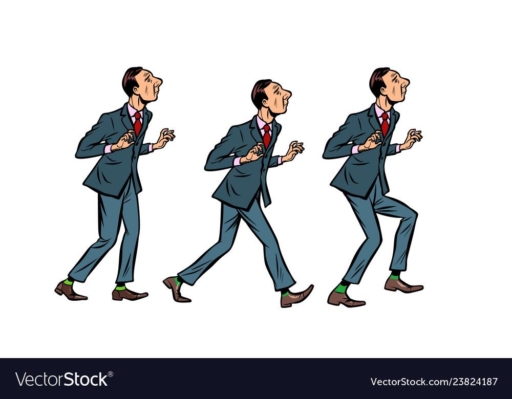 Businessman walks gait character phase