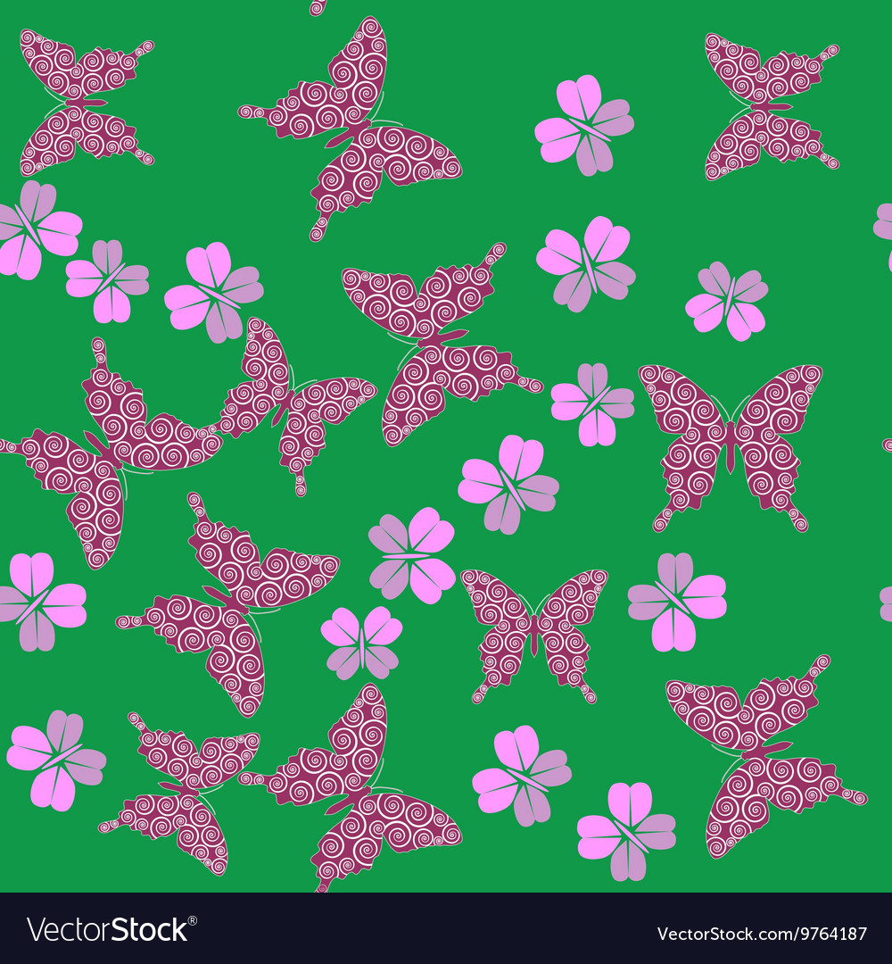 Butterfly and flower seamless texture 658 vector image