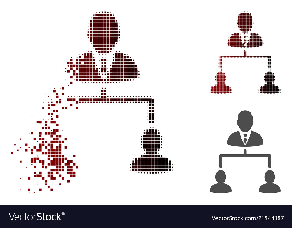 Dispersed pixelated halftone human hierarchy icon