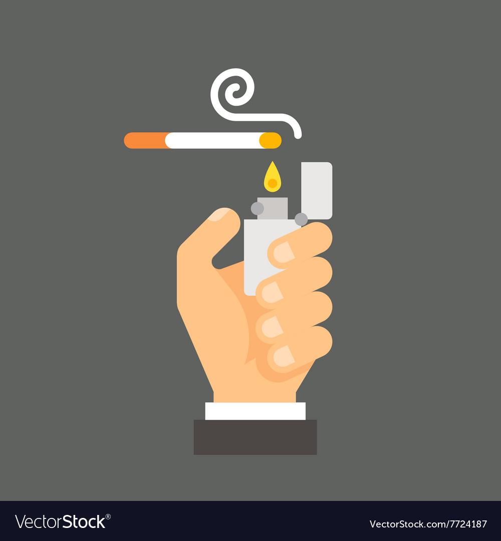 Flat design hand holding lighter and cigarette